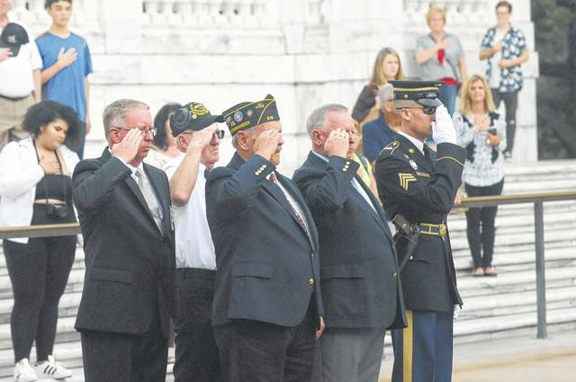 On Friday, Sept. 22, during a trip to Washington, D.C., veterans Jim Favorite (front left), Dave Sizemore (middle front), William Smith (back right) and Preble County Sheriff Mike Simpson participated in a wreath-laying ceremony at the Tomb of the Unknown Soldier in Arlington National Cemetery.