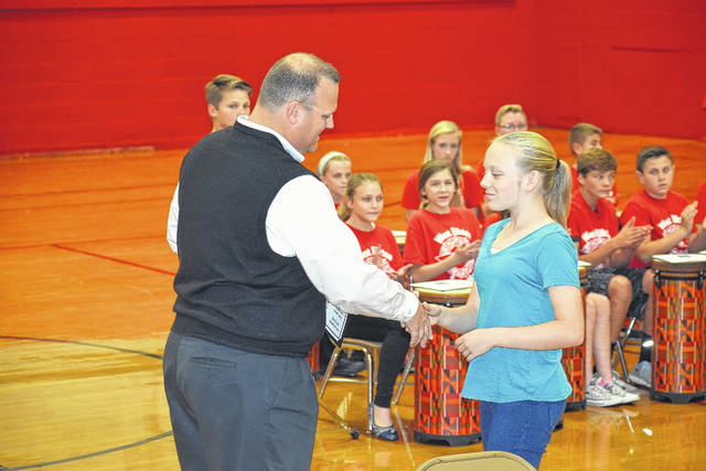 Preble Shawnee Board of Education recognized sixth grade student Bonnie Blevens during a meeting on Thursday, Oct. 12. Blevens got a perfect score on the Social Studies portion of her Ohio State Test. She was presented with a certificate of recognition.