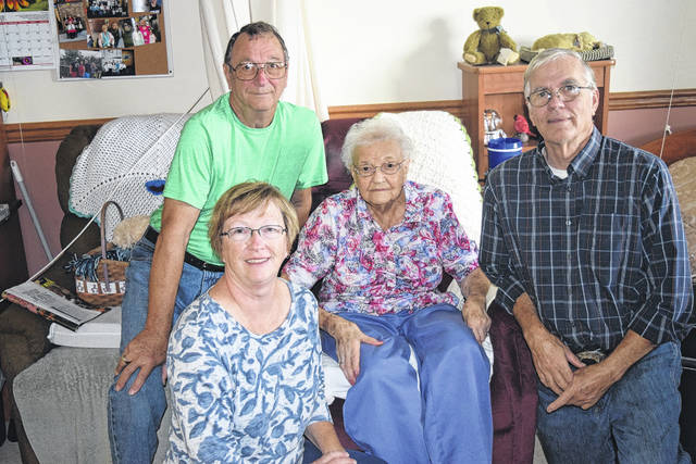 Preble County resident Genevieve Trump turned 100 years old on Monday, Oct. 9. She is pictured with her three children.