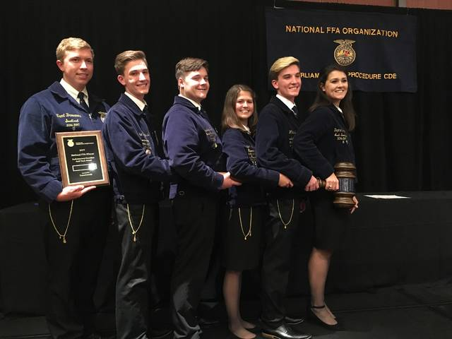 Eaton-MVCTC FFA Parliamentary Procedure Team, Trent Broermann, Blake Whitesell, Daphne Durham, Andrew Brooks, Katelyn Niehaus and Cole Whitesell, received a Gold Rating and 5th in the Nation at the National FFA Convention & Expo.