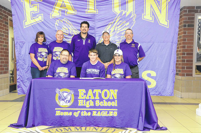 Eaton senior Sean Hodges (front middle) will continue his golf career at Cincinnati Christian University.