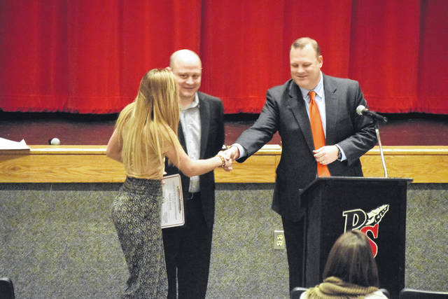 Varsity soccer player Saylor Jewell was also recognized for breaking school records.