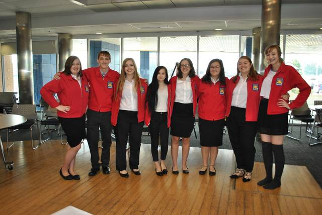 Pictured left to right:2017-2018 SkillsUSA Chapter II Officers – Megan Davis, Fletcher Durham, Samantha Taylor, Elizabeth Newton, Emma Jones, Tessa Peck, Alyssa Maul, Kaitlyn Jurgens