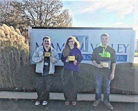 MVCTC Electives, Business, Information Technology and Agriculture Department Students of the Month for November 2017, Emily Swindell (Medical Office Management from Miami East), McKenzie McCray (Veterinary Science from Eaton), and Garrett George (Diesel Power Technologies from Tri-Village) were recognized for being outstanding representatives of their respective career tech programs.