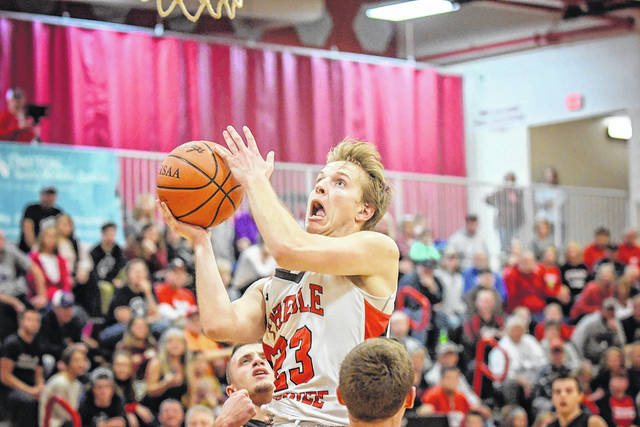 Preble Shawnee senior Joey Bates scored a career-high 35 points to help lead the Arrows to a 75-72 win over previously unbeaten Franklin on Tuesday, Dec. 19.