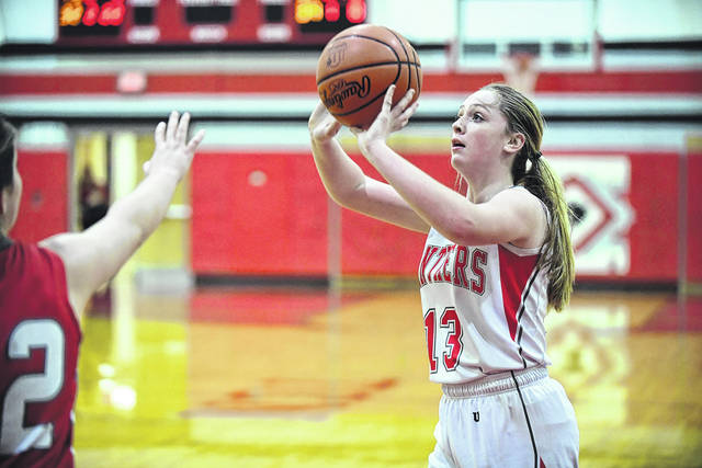 Tri-County North freshman Sidney Jackson attempts a shot during the Panthers game with Dixie on Monday, Dec. 18. North picked up a 52-46 win to snap a three-game losing streak.