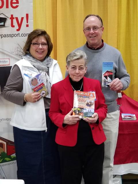 Pictured, Preble County CVB representatives Stephanie Garrett, Jeff Sewert and Carolyn Ulrich spent time promoting Preble County during the annual AAA Great Vacations Travel Expo this past weekend.