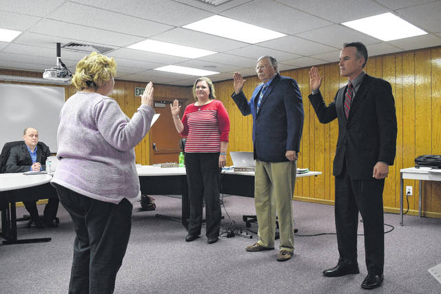 Preble Shawnee welcomed their three new board members during their organizational meeting on Thursday, Jan. 4. The Oath of Office was administered to Charlie Biggs, Julie Singleton, and Bill Crawford.