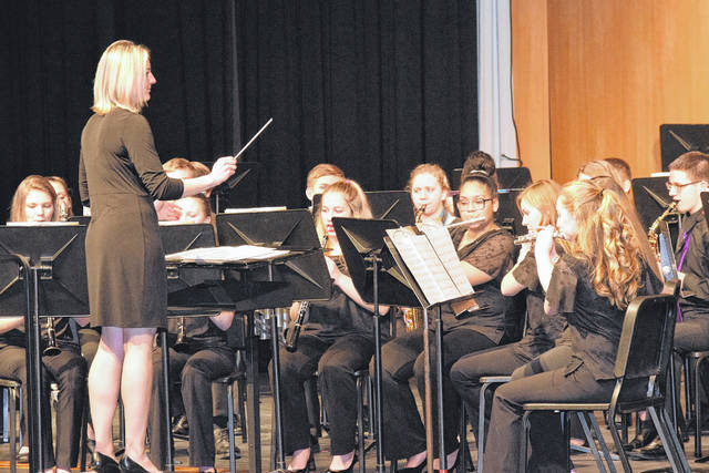 Eaton High School Concert Band and Wind Symphony held its winter concert on Tuesday, Feb. 20. Directed by Abby Hinson and Paul Bingle, both bands performed four challenging selections. Pictured above is the concert band.