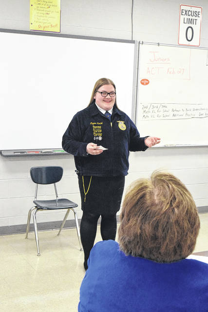 Pictured is Chyann Kendel competing in the Extemporaneous competition.
