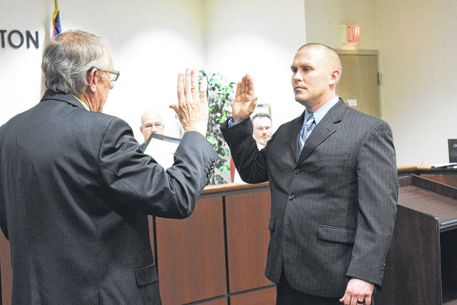 Jamison Kuenkel was sworn in as one of the City of Eaton's newest part-time police officers during an Eaton City Council meeting on Monday, Feb. 19. It was explained Kuenkel had recently graduated from the Police Academy and that he is starting his police career with the City of Eaton.