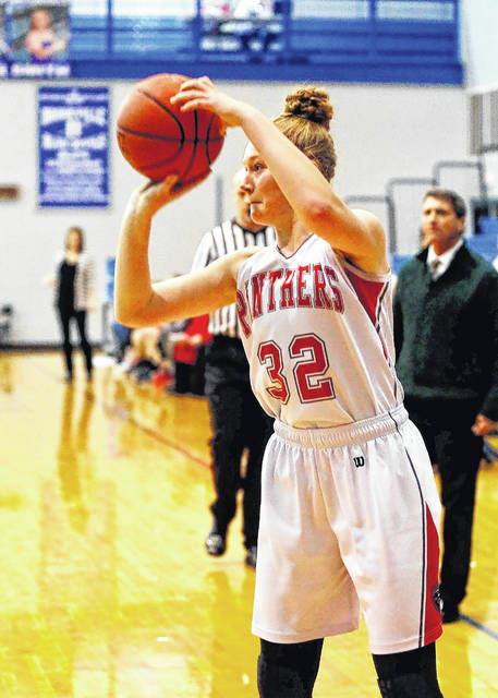 Tri-County North's Aubrey Stupp scored 16 points in the Panthers first round sectional tournament game on Saturday, Feb. 17, against No. 4 seed Troy Christian. North's season came to an end with a 46-26 loss.