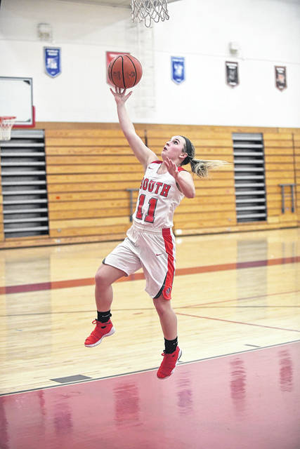 Twin Valley South's Madison Johnson drives to the basket during the Panthers game with Bethel on Thursday, Feb. 8. South came up short, falling 52-51, to the Bees.