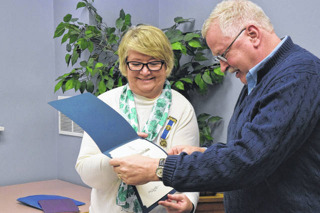 The Commodore Preble Chapter DAR presented a community service award to Jay Conard on Saturday, March 17. According to Regent Debra Crumbaker, the chapter does not give out community service awards often, but wanted to recognize Conard's contributions to the community in the area of music.