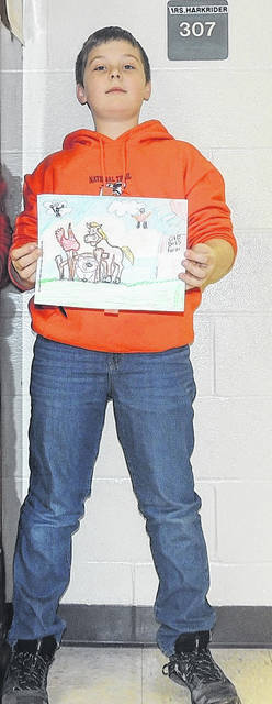 Fifth-grader Cullen Davis won the coloring contest for his level.