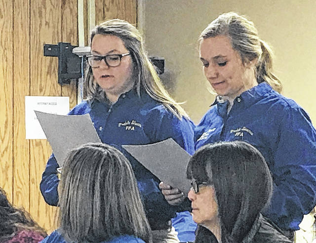 Preble Shawnee FFA provided an update to the community during the district's board of education meeting on Thursday, Feb. 22. Reporter Megan Roell and Treasurer Shelby Abrams spoke during public participation. The girls informed the board of their recent events and accomplishments.