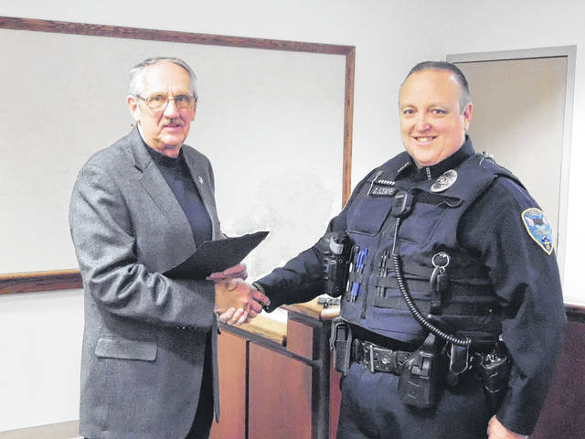City of Eaton Police Officer David Sizemore was recognized as the city's 2017 Employee of the Year during the council meeting on Monday, March 19.