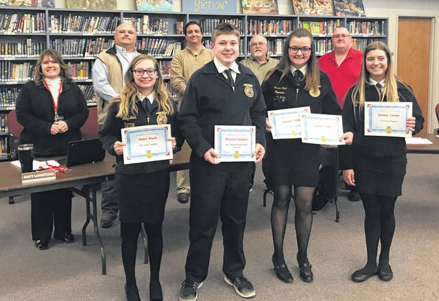 During the Twin Valley Community Schools Board of Education Meeting on Monday, March 26, the board recognized the FFA Chapter for recent achievements. Secretary Kaitlynn Crow, Treasurer Preston Glander, and Reporter Lauren Todd were all recognized for their Gold Rated Officer Book. The following students were recognized for receiving their FFA State Degrees: Haley Back, Gabrielle Cooper, Kaitlynn Crow, Kinsey Crowe, Madison Johnson, and Lauren Todd.