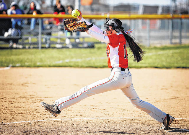 National Trail's Davlyn Werner allowed five hits and stuck out five batters in the Blazers 17-3 win over Miami East on Thursday, April 19.