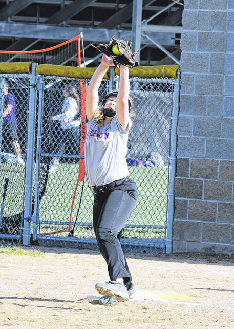 Eaton first baseman Alysa Sorrell stretches to make a catch during the Eagles game with Valley View on Friday, April 20. The Eagles run-ruled the Spartans, 11-0, in 5-innings.