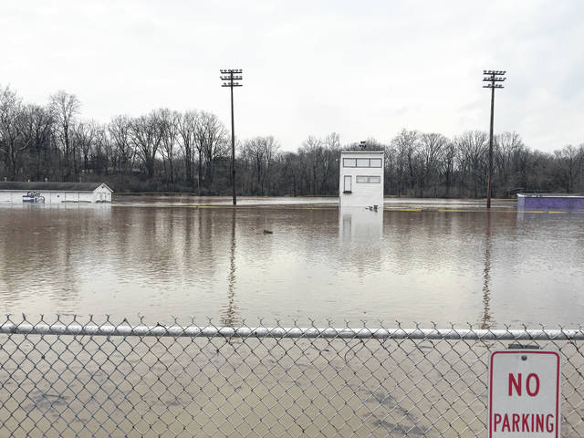 Pictured, flooding at Park Avenue Field in Eaton was severe on Tuesday, April 3. Other areas around Preble County also remained under water. Seven Mile Park, Water Works Park and Hook Park in the city of Eaton are all closed until further notice due to high water.