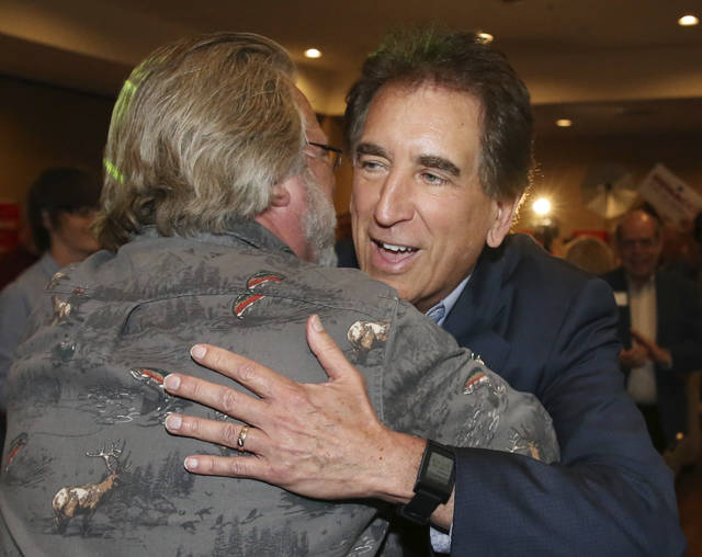 U.S. Senate candidate, Rep. Jim Renacci greets supporters at his watch party after declaring victory in the primary, Tuesday, May 8, 2018, at the Galaxy Restaurant in Wadsworth, Ohio. (John Kuntz/The Plain Dealer-cleveland.com via AP)