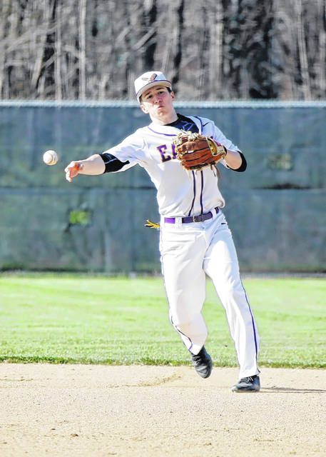 Eaton second baseman Chip Parker looks to throw a runner out during the Eagles game with St. Henry on Friday, April 27. Eaton fell to the Redskins, 3-0.