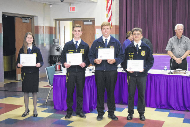 During the recent board meeting on Monday, May 14, Eaton Board of Education recognized the Eaton MVCTC FFA Chapter for recent accomplishments.