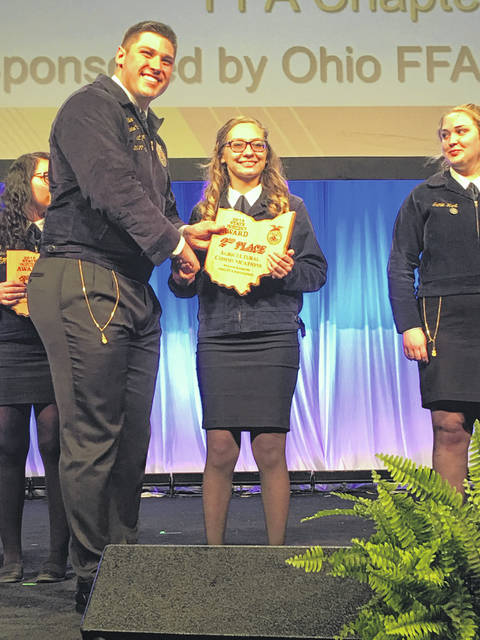 Haley Back of the Twin Valley South-MVCTC FFA Chapter earned 2nd place in the state in the area of Agricultural Communications.