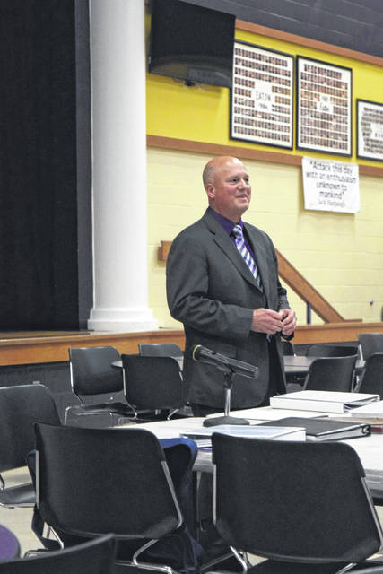 The Eaton Community Schools Board of Education sought the community's input on the selection of the district's next superintendent. On Wednesday, May 16, the community had the opportunity to interview the three finalists for the position. Those finalists were Jeff Parker, Harold Niehaus (pictured above), and Gregg Goewert.