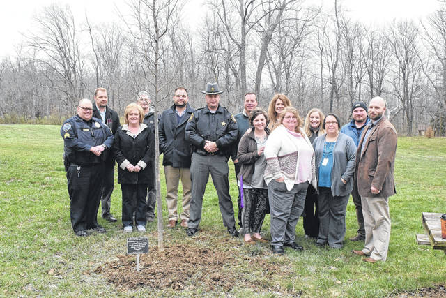 """Following """"Bringing Help. Bringing Hope. Thank You"""" week, a tree was planted and dedicated in Fort St. Clair Park in Eaton on Tuesday, April 17, to honor everyone fighting the battle against drug addiction. Its plaque reads, """"This tree is dedicated to every individual who battles addiction, and every family member, friend, and all those on the front line fighting alongside them."""""""