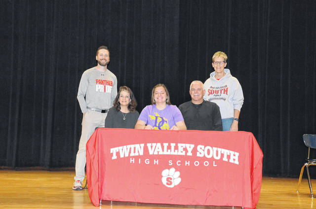Twin Valley South's Kelsie Shafer (front middle) recently signed to play softball at Defiance College.