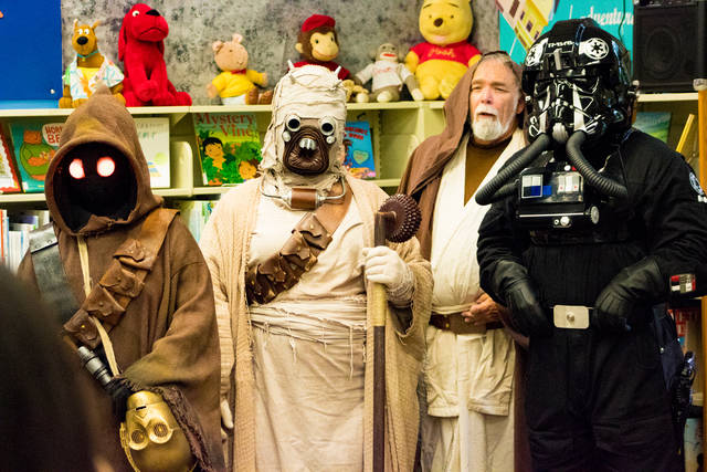 Members of the Ohio Garrison of the 501st Legion will be back in full replica Star Wars costumes for the library's second annual Comic Con. Pictured are Ohio Garrison members at the inaugural Preble County Comic Con in 2017.