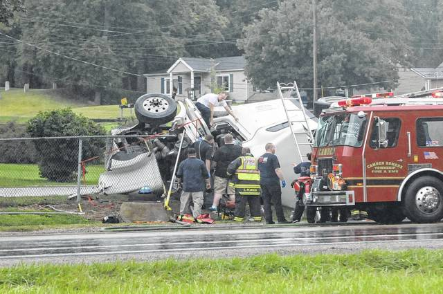 Three members of the Hudson family of Camden died when a semi traveling southbound on U.S. 127 struck their Jeep Cherokee which was traveling eastbound on Ohio 725. According to officials, the investigation showed the semi ran the red light at the intersection. After the impact with the Jeep, the semi also struck two other vehicles.