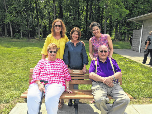 Lifelong residents of Eaton, Robert and Carol Armacost, were honored on Saturday, June 9, with a gift from their family and a proclamation from Mayor Gary Wagner and Eaton City Council. Bob and Carol are pictured with their three daughters.