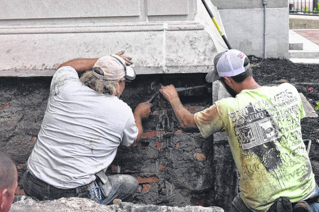A corner of the Preble County Courthouse was opened on Tuesday, July 24, and a time capsule was removed from inside. That time capsule has been there since the courthouse was built, nearly 100 years ago. New items will be placed inside and the capsule will be replaced during a ceremony on Sunday, Oct. 6.