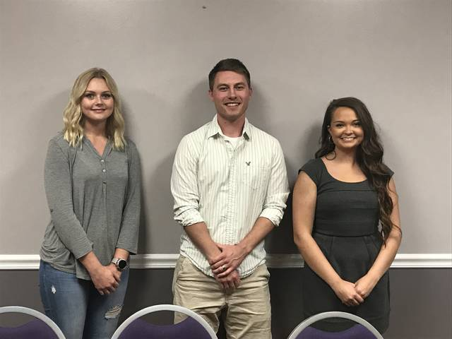 From left to right, pictured are scholarship recipients Lauren Baker, Joshua Hemmelgarn, and Mikayla Wells.